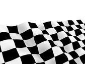 Checkered racing flag on winding flow — Stock Photo