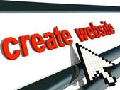 "Red signboard ""create website"" with pixel arrow. — Foto de Stock"