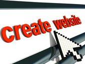 "Red signboard ""create website"" with pixel arrow. — Stock Photo"