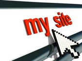 """Red signboard """"my site"""" with pixel arrow. — Stock Photo"""