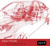 Vector car wire frame — Stock Vector
