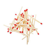 Pile of matches isolated on white — Foto Stock