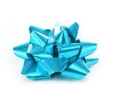 Beautiful blue bow isolated on white — Stock Photo