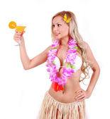 Beautiful blonde girl with Hawaiian accessories drinking juice isolated on white — Stock Photo
