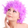 Young girl with purple wig from feathers, isolated on white background, soft skin — Stock Photo