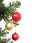 Christmas balls on Christmas tree branch, isolated on white — Stock Photo