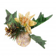 Christmas decoration with pine cone, gold apple and holly berry leaves isolated on white - Stock Photo