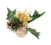 Christmas decoration with pine cone, gold apple and holly berry leaves isolated on white — Stock Photo