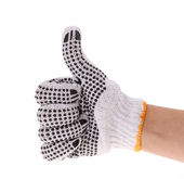 Thumbs up with a work gloves on hand isolated on white — Zdjęcie stockowe