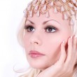 Blonde girl with very beautiful face and pearl accessories on her head — Stock Photo