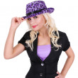 Royalty-Free Stock Photo: Blonde young woman with purple leopard print hat, isolated on white