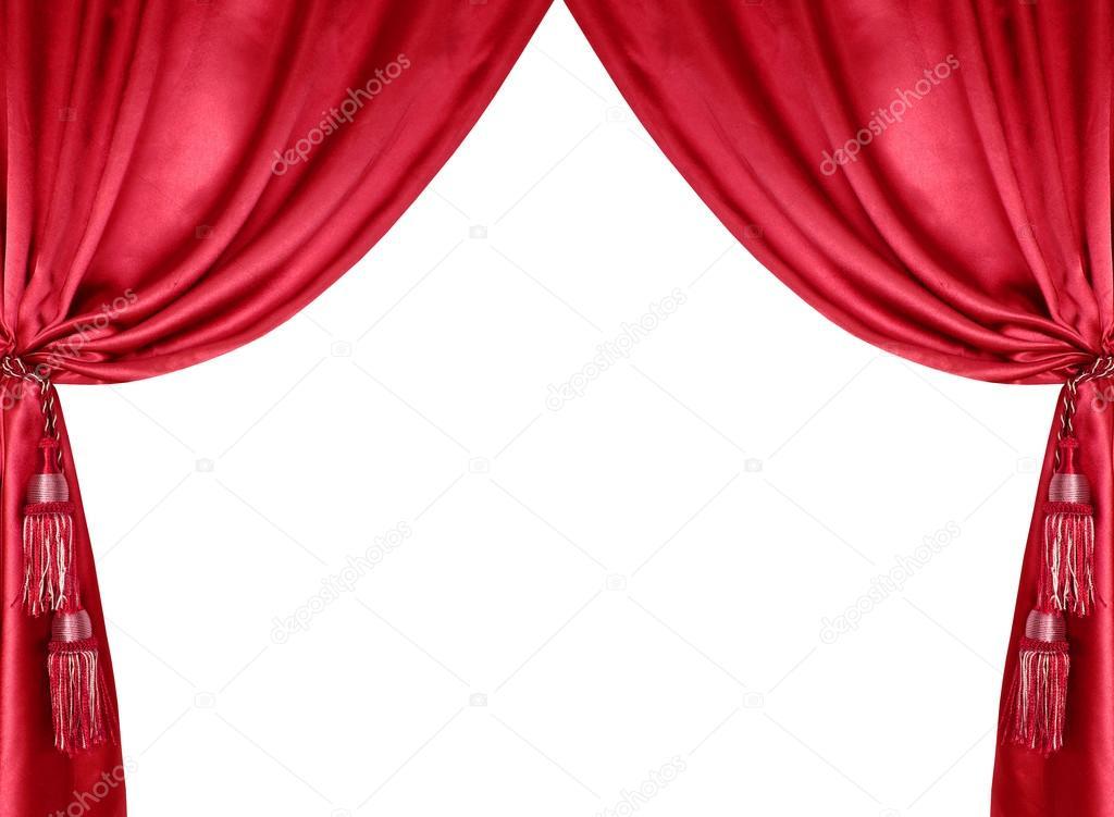 孤立在白色背景上的流苏红色丝绸窗帘