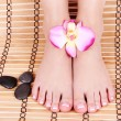 Beautiful manicured female bare feet with orchid flowers and spa stones over bamboo mat, pedicure, foot care — Stock Photo #19446923
