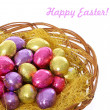 Happy easter, colorful chocolate easter eggs in basket isolated on white background — Stock Photo #22138629