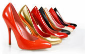 Fashion pumps shoes collection on white background — Stock Photo