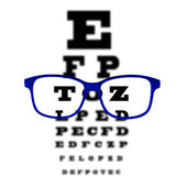Eye vision test chart seen through blue eye glasses, white background isolated. — Stock Photo
