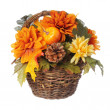 Halloween or Thanksgiving Bouquet with pumpkin and Autumn flowers in basket, isolated on white background. — Stock Photo #30157995