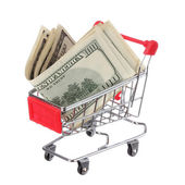 Money in shopping cart isolated on white. Dollar bills in trolley. Concept — Stock Photo