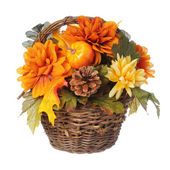 Halloween or Thanksgiving Bouquet with pumpkin and Autumn flowers in basket, isolated on white background. — Stock Photo