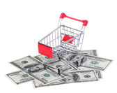 Shopping Cart on Dollar Bills isolated on white. Ttrolley on money. Concept — Stock Photo
