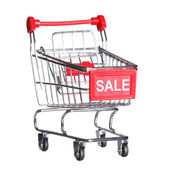 Shopping cart with word SALE, isolated on white background — Stock Photo