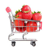 Ripe strawberries in shopping cart isolated on white. concept. — Stock Photo