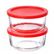 Glass food containers with red plastic lids isolated on white background — Stock Photo #30554753