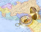 Gold compass on map of South America — Stock Photo