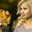 Autumn Fashion Girl. Blonde beautiful young woman with yellow maple leaves in hand. Outside. Fall — Stock Photo
