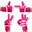 Set of Hands in Knitted Gloves isolated on white. Thumb Up, Pointing, Victory, Ok Sign — Stock Photo