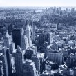 New York City, Manhattan Skyline aerial panorama view with skyscrapers. Black and White — Foto de Stock