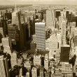 New York City, Manhattan Skyline aerial panorama view with skyscrapers. Black and White — Stock Photo