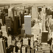 New York City, Manhattan Skyline aerial panorama view with skyscrapers. Black and White — Stock Photo