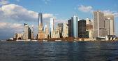 Manhattan, New York City skyline with Freedom Tower over Hudson River. Panorama — Stock Photo