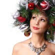 Christmas Woman. Fashion Girl with New Year Decorated Hairstyle. — Stock Photo