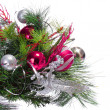 Christmas Decoration. Hot Pink Balls on Christmas tree branch is — Stock Photo