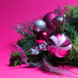 Christmas Decoration. Hot Pink and Silver Balls on Christmas tre — Stock Photo #35297893