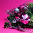 Christmas Decoration. Hot Pink and Silver Balls on Christmas tre — Stock Photo