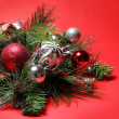 Christmas Decoration. Red and Silver Balls on Christmas tree bra — Stockfoto