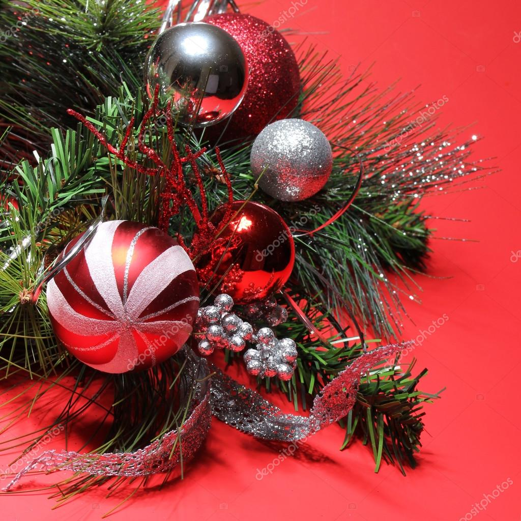 Red and silver christmas tree decorations - Christmas Decoration Red And Silver Balls On Christmas Tree Bra Stock Image