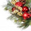 Christmas Decoration. Red Bolls on Christmas tree branch isolate — Stock Photo