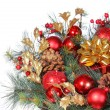 Christmas Decoration. Red Bolls on Christmas tree branch and gif — Stock Photo