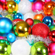 Colorful Christmas Balls. Christmas Decorations. Holiday Card. B — 图库照片