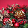 Christmas Decoration. Christmas tree branch with red bolls and g — Stock Photo