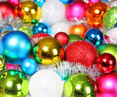 Colorful Christmas Balls. Christmas Decorations. Holiday Card. B — Stock fotografie