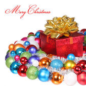 Christmas Gift with Gold Bow and Colorful Balls isolated on whit — Stock fotografie