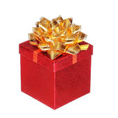 Christmas Red Gift Box with Gold Ribbon Bow, isolated on white b — ストック写真