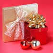 Christmas Presents. Gift Boxes with Gold Bow and Shiny Christmas — Stock Photo