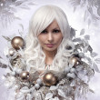 Christmas or Winter Woman. Snow Queen. Portrait of Fashion Girl — Stok Fotoğraf #36681969