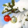 Red and Gold Christmas Balls on Christmas tree branch covered wi — Stock Photo #37206137